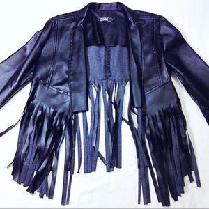 Asos faux leather cropped fringe jacket